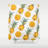 Pineapple Dot Pattern Shower Curtain