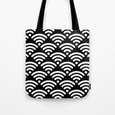 WiFi Pattern White on Black Tote Bag