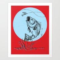 Bass Jumping In Blue Cir… Art Print