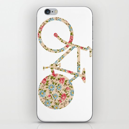 Whimsical cute girly floral retro bicycle iPhone & iPod Skin