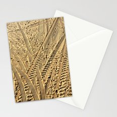 Tire tracks in the sand. Stationery Cards