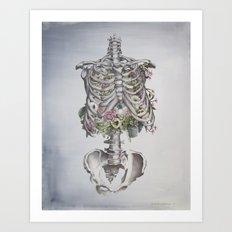Floral Anatomy Skeleton Art Print
