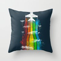 Colored Flight Throw Pillow