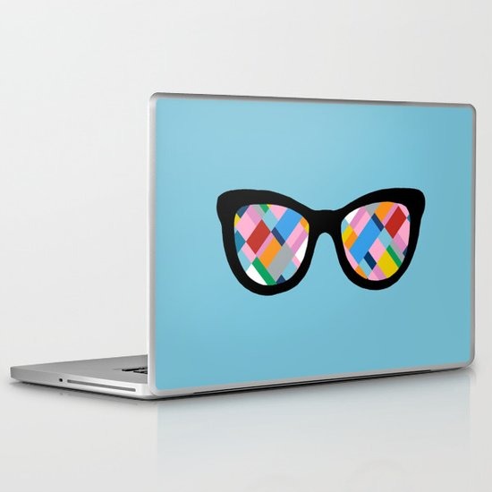 Map 45 Glasses on Sky Blue Laptop & iPad Skin