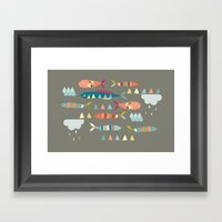 Fish Clouds Framed Art Print