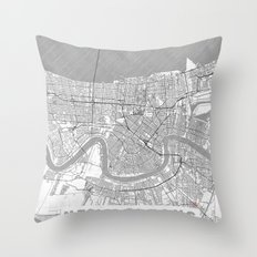 New Orleans Map Line Throw Pillow