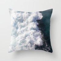 sea - midnight blue wave Throw Pillow