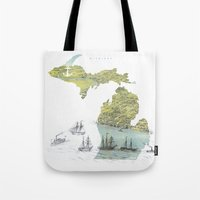 Ships Along the Shore - Michigan circa 1868 Tote Bag
