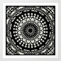 Black On Cream Mandala Art Print