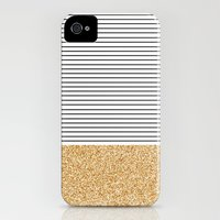 iPhone 4s & iPhone 4 Cases featuring Minimal Gold Glitter Stripes by Allyson Johnson
