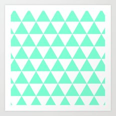 Triangles (Aquamarine/White) Art Print