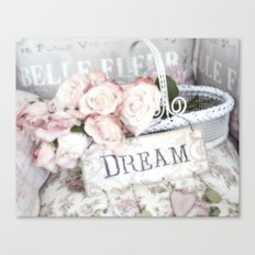 Shabby Chic Basket Dream Roses Canvas Print