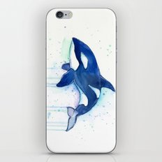 Killer Whale Orca Watercolor Painting Animal Art iPhone & iPod Skin