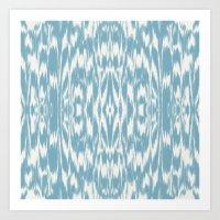 Ikat: Light Blue Ivory Art Print