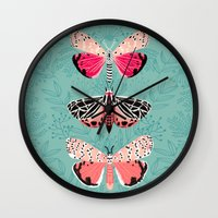Lepidoptery No. 6 by Andrea Lauren Wall Clock