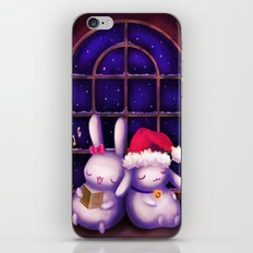 Chubby bunnies at christmas night iPhone & iPod Skin