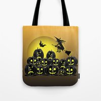 Pumpkins And Witch In Fr… Tote Bag