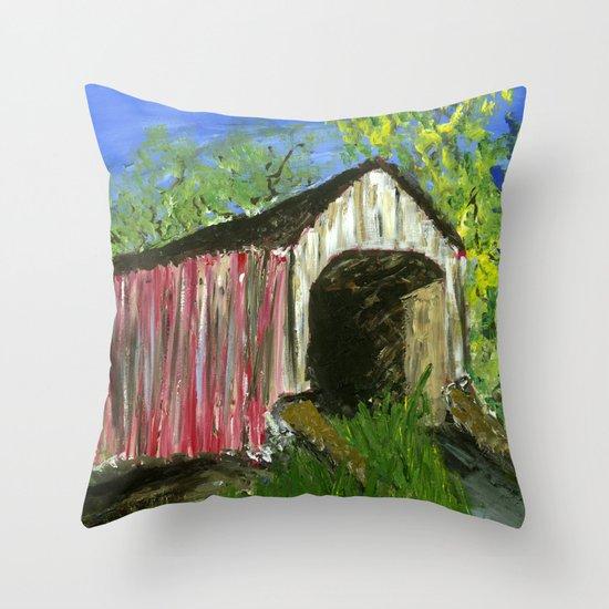 Erwinna Covered Bridge  Throw Pillow