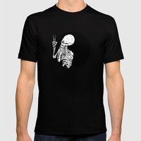 Skeleton Wink Mens Fitted Tee Black SMALL