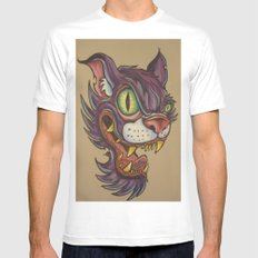 mean cat SMALL White Mens Fitted Tee