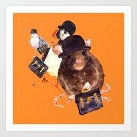 Animal art, animals in hats, funny animals,  Art Print