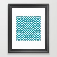 Ikat Chevron: Teal Framed Art Print