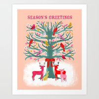 Woodland Christmas Tree … Art Print