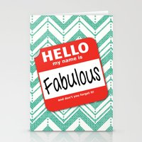 Hello My Name Is.... Fabulous!  Stationery Cards