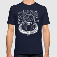 Let Curiosity Kill Me, I'm with the Cat Mens Fitted Tee Navy SMALL
