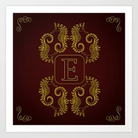 Letter E Seahorse Art Print