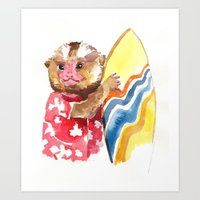 Surfs Up Little Monkey Art Print