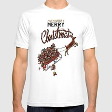 Pugs Christmas Mens Fitted Tee White SMALL