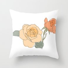 Handdrawn Roses Throw Pillow