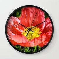 Red Poppy I Wall Clock