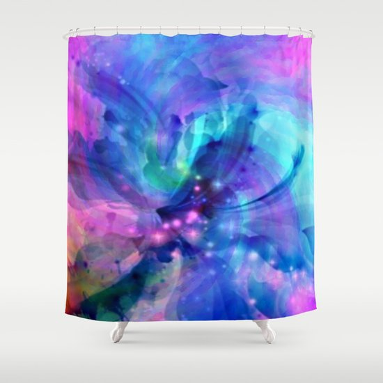 Blue And Pink Swirl Abstract Shower Curtain By Judy Palkimas Society6