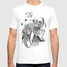 Inking Fox and Bird SMALL White Mens Fitted Tee
