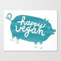 Happy Vegan Canvas Print