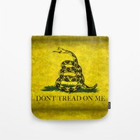 Don't Tread On Me - The Gadsden Flag in Vintage Grunge Tote Bag