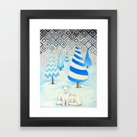 Winter Foxes Framed Art Print