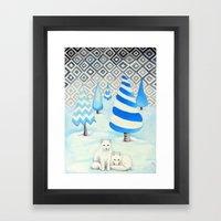 Winter Foxes Framed Art Print