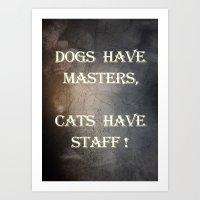 Dogs v Cats Art Print
