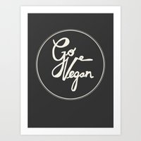 Go Vegan Grey Art Print