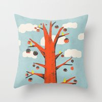 Red Tree, Yellow Birds Throw Pillow