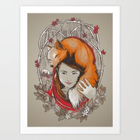 Art Print featuring Safe in My Red Riding Hood by jewelwing
