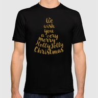 Holly Jolly Christmas Mens Fitted Tee Black SMALL