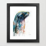 Framed Art Print featuring Sea Lion by Slaveika Aladjova