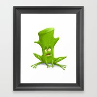 Log In A Frog Framed Art Print