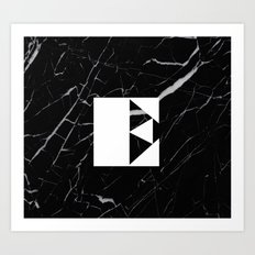 Black Marble - Alphabet E Art Print