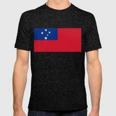 Samoan Flag - Authentic … Mens Fitted Tee Tri-Black SMALL