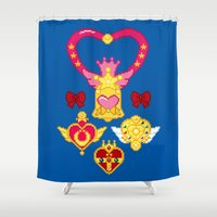 Pixel Moon Brooches Shower Curtain